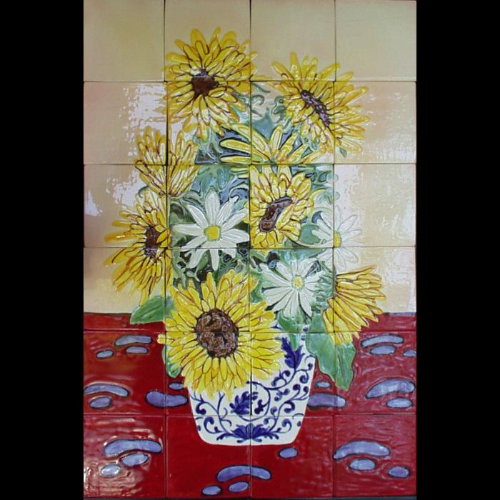 Sunflowers in Delft Vase