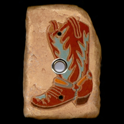 Turquoise Brown Boot Doorbell